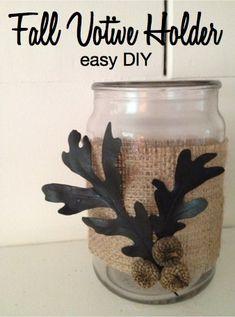 Fall Votive Holder Easy DIY Decor Craft project