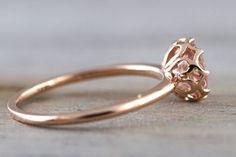 Melrose Smooth 6mm Morganite 14k Rose Gold Round Diamond Halo Ring