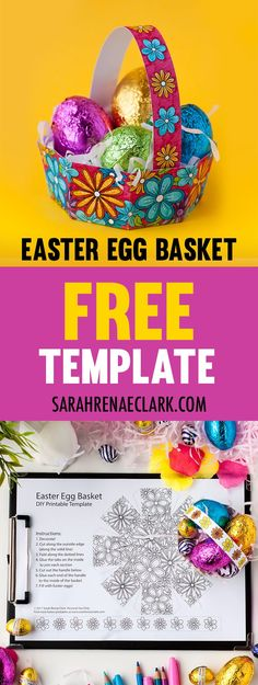 How to prepare an Easter egg basket Free model - Sarah Renae Clark - Designer and coloring book designer, Easter Baskets To Make, Making Easter Eggs, Easter Egg Basket, Easter Crafts For Kids, Diy For Kids, Easter Art, Easter Ideas, Easter Projects, Adult Crafts