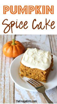 Easy Pumpkin Spice Cake Recipe at TheFrugalGirls.com