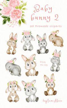 Pink Watercolor, Watercolor Animals, Watercolor Illustration, Rabbit Png, Rabbit Clipart, Baby Bunnies, Bunny, Atelier Creation, Baby Girl Clipart