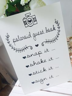 Vintage/Rustic ivory A3 Polaroid guest book sign for weddings/parties - backed or unbacked-FREE POSTAGE!