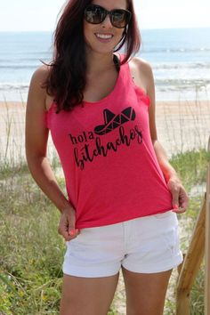 "Mexico bound? Get ready for sun, sand, and margaritas with this vintage pink women's very soft and comfortable racerback tank with ""Hola Bitchachos"" print in black. Printed on 50% polyester/25% combed"