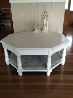Perfect Octagonal Coffee Table After  Annie Sloan Pure White. Custom Painted. SOLD  See Www