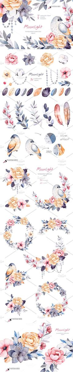 Moonlight. Watercolor collection. Christmas Patterns. $15.00