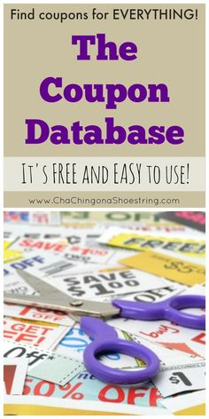 Need a coupon? Find every printable, insert, and magazine coupon for every brand imaginable with The Coupon Database - it's FREE and easy to use. Pin it NOW for when you need it later!