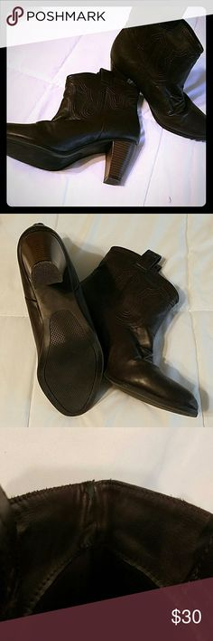 Western style booties by Rampage Pretty chocolate brown with 3 inch heels, these Western-style booties will compliment lots of looks. One tiny worn spot on the inside of the right boot, shown in third picture. Rampage Shoes Ankle Boots & Booties