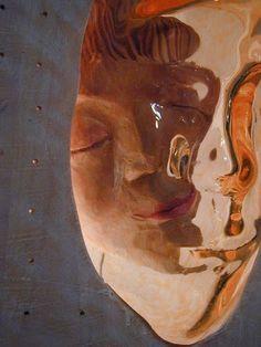 Detail of wooden/glass sculpture