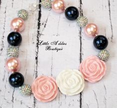 Chunky Bubblegum Beaded Necklace Pink