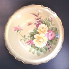 Large Lefton Bowl Hand Painted With Butterfly Flowers And Gilding Japan Butterfly Flowers, Pink Flowers, Butterfly Gold, Purple Yellow, Pink And Gold, Purple Mums, Pie Dish, Serving Bowls, Hand Painted