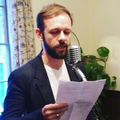 Piers Alexander (author of The Bitter Trade) reading from Gillian Hamer's False Lights Book Launch, Vintage Microphone, November 2015, Bitter, Product Launch, Author, Lights, Reading, Books
