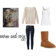 Beige Sweater, Rinse Skinny Jeans, White Tank Top and Uggs <3 from Polyvore