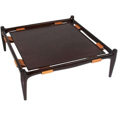 Vintage California Craftsman Leather and Mahogany Coffee Table | From a unique collection of antique and modern coffee and cocktail tables at https://www.1stdibs.com/furniture/tables/coffee-tables-cocktail-tables/