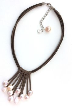 The Fountain - Designer Handmade Natural Pearls on Leather Necklace