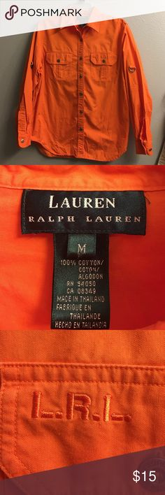 Ralph Lauren- Orange Cotton Button Shirt- M Great looking Cotton Button down shirt from Ralph Lauren- Orange- LRL initials on left pocket- long sleeve but can be made short sleeve- 100/cotton- worn very little- just sat in closet- from smoke free home Lauren Ralph Lauren Tops Button Down Shirts