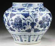 """A Large Well-Painted EARLY MING Blue & White Jar; rare and big porcelain jar, finely painted in deep cobalt tones of underglazed blue enhanced by areas of 'heaping and piling' with lotus blossoms amid vines, the base unglazed; Size: D: 13-1/2""""; H: 11-1/4"""""""