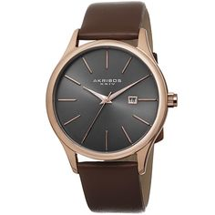 Akribos XXIV Classic Men's Sunray Gunmetal Dial Leather Strap Watch