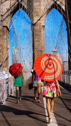 Parasols on the Brooklyn Bridge or at the beach. They are perfect for sunny days all around the world. Check out our full range and buy on Facebook https://www.facebook.com/pages/Parasols-A-Bit-Shady/472598762862808