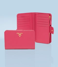 prada saffiano calf leather wallet in peony pink