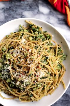 Spaghetti with Cauliflower and Garlicky Swiss Chard Gremolata | Joanne Eats Well With Others