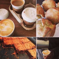 Coffee and sweets. Delicious dense chocolate brownies tasty appelbollen all perfect for with your takeaway coffee!  #coffeetime #chocolatebrownies #flatwhite #eateryhermanus #discoveroverberg #hermanus