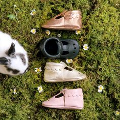 Introducing our take on the Mary Jane with a t-strap cut out, sweet scallop collar and the same easy-on functionality of our best selling moccasin.   Freshly Picked, 100% Genuine Leather, Rose Gold, Ebony, Platinum, Blush, Metallic, Black, Pink, Baby Shoes, Scalloped Kid Fashion
