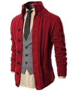 Button up shirt, with a tie and vest. All underneath a red cardigan. H2H Mens High Neck Twisted Knit Cardigan Sweater With Button Details WINE US L/Asia XL (KMOCAL020) H2H,http://www.amazon.com/dp/B00H6YCDHQ/ref=cm_sw_r_pi_dp_50q.sb1PXGWA92DV