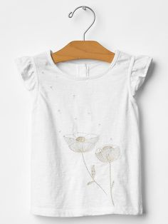 Embroidered flutter top