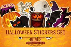 Halloween Stickers Set + Bonus by Tashal on Creative Market