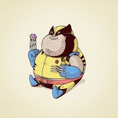 wolverine with the cupcake - #famouschunkies by alex mdc.