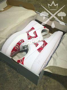 Nike Air Force One 1 Low Custom Red Bandana Men s White Sneaker Shoe 3b66497d6f