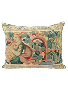 French Tapestry Pillow Depicting a Young Lady Playing the Flute | The HighBoy | www.thehighboy.com