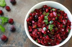 This cranberry salsa recipe is a great way to incorporate cranberries around the holidays or any time of the year.