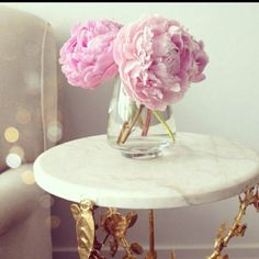 Peonies on a marble table