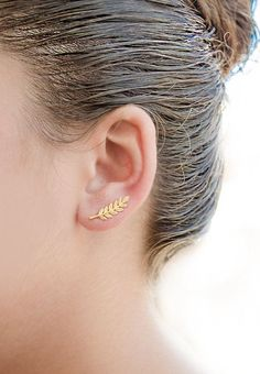 Gold Leaves Ear Climbers, Yellow Gold Plated, Leaves Ear Sweep, Nature, Hand…
