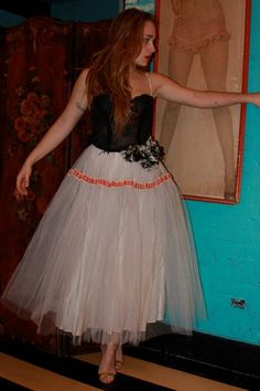 Jemima Kirke. #topshoppromqueen tulle big skirt and 3D flower detail on hip