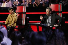 "Pharrell Williams and Blake Shelton on the ""The Voice"""