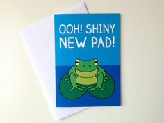 New Home card, Shiny New Pad, cute new home card, new house card, congratulations new home, funny house card, moving house good luck card by hello DODO via Etsy