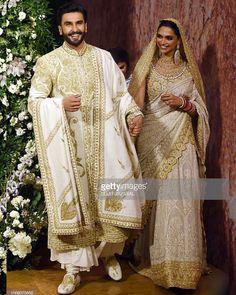 Deepika Padukone and Ranveer Singh Mumbai wedding reception: Singh shakes a leg with friends Wedding Dresses Men Indian, Wedding Dress Men, Indian Bridal Outfits, Pakistani Bridal Dresses, Indian Designer Outfits, Bridal Lehenga, Indian Groom Wear, Indian Attire, Indian Wear
