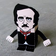 This paper people toy is the Edgar Allan Poe in cube style, created by Toy a Day. Edgar Allan Poe was an American author, poet, editor and literary critic, Edgar Allan Poe, Caricatures, Paper Toys, Paper Crafts, Allen Poe, American Literature, Free Paper, Macabre, Halloween Party