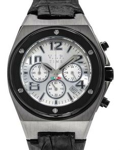 Date Watch With Black Leather VIP Time Italy chronograph watch. Well made with base metal and black leather in two tone color. Cool Watches, Watches For Men, Bf Gifts, Chronograph, Black Leather, Menswear, Vip, Best Deals, Italy