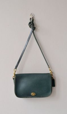 Hunter Green Coach bag vintage Coach purse leather by DearGolden