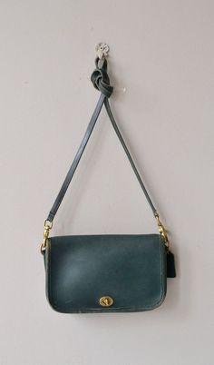 Hunter Green Coach bag vintage Coach purse leather by DearGolden