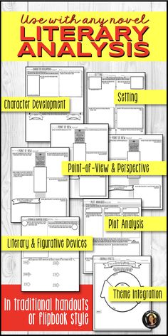 Literary analysis handouts to use with any novel, story. Students practice inferring, synthesis, critical & creative thinking. Lit elements: character development, setting, plot, point-of-view (first, third limited, third omniscient), theme, and fig language/literary devices. Traditional worksheets & handy flipbook. https://www.teacherspayteachers.com/Product/Literary-Elements-Analysis-Interactive-Notebook-Flipbook-for-Any-Novel-3681225?utm_source=Pinterest&utm_campaign=LitElementsFlipbook
