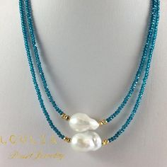 Mystic London Blue Quartz Princess Necklace with Golden Pyrites and Freshwater Baroque Pearl