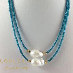 Mystic London Blue Quartz Princess Necklace with Golden Pyrites and Freshwater B. - Mystic London Blue Quartz Princess Necklace with Golden Pyrites and Freshwater Baroque Pearl - Bead Jewellery, Pearl Jewelry, Wire Jewelry, Jewelry Crafts, Gemstone Jewelry, Jewelery, Jewelry Necklaces, Handmade Jewelry, Gold Bracelets