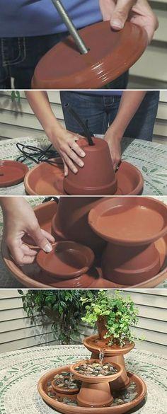 22 Unique DIY Fountain Ideas to Spruce Up Your Backyard - Diy Garden Decor İdeas Diy Garden, Garden Crafts, Garden Projects, Garden Pots, Garden Table, Potted Garden, Succulent Planters, Hanging Planters, Succulents Garden