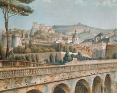 Italy, Genoa, View of Genoa from Palace of Prince Doria by Aulaire, Coloured lithograph