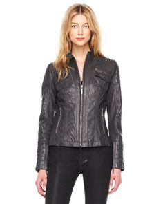 Trapunto-Stitched Leather Jacket. @Michael Kors
