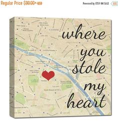 Black Friday SALE best gifts for spouse Where you stole my heart custom map art, Personalized Couple, Wedding Anniversary Gift with Quote Ar by GeezeesCustomCanvas on Etsy https://www.etsy.com/listing/259310378/black-friday-sale-best-gifts-for-spouse